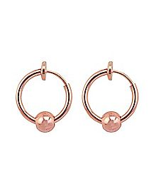Rose Goldplated Fake Captive Rings - 1 Pair