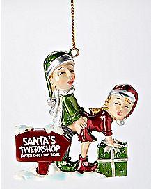 Santa's Twerkshop Humping Elves Christmas Ornament