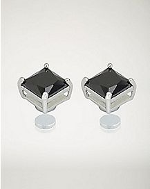 Square Black CZ Magnetic Earrings