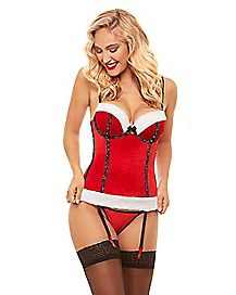 Glitter Velvet Christmas Corset with Thong