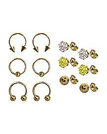 Multi-Pack Horseshoe Captive and Stud Earrings 6 Pair - 18 Gauge