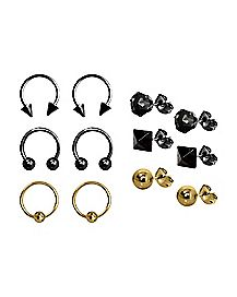 Multi-Pack Plated Horsehoe Captive and Stud Earrings 6 Pair - 18 Gauge