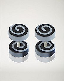Black and White Spiral Fake Plug - 18 Gauge