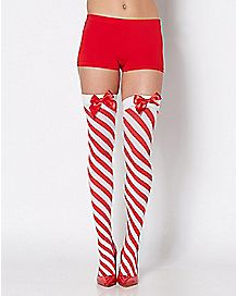 Candy Cane Thigh High Stockings
