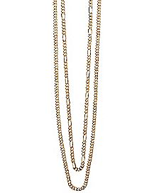 Goldplated Figaro Double Chain Necklace