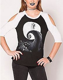 Moon Nightmare Before Christmas Raglan T Shirt