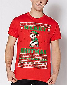 Elf Merry Shitmas Ugly Christmas T Shirt