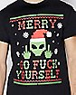 Santa Alien Merry Go Fuck Yourself Ugly Christmas T Shirt