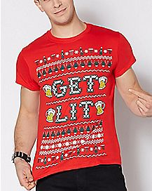 Get Lit Ugly Christmas T Shirt