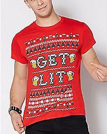 Get Lit Ugly Christmas T Shirt