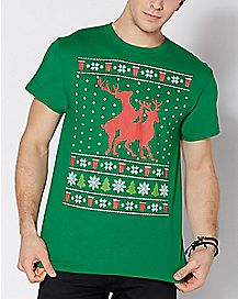 Humping Reindeer Ugly Christmas T Shirt