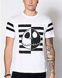 Jack Skellington Striped Varsity T Shirt - The Nightmare Before Christmas
