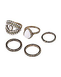 II BURN GOLD 5PK STONE RINGS