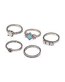 Turquoise-Effect Rings - 5 Pack