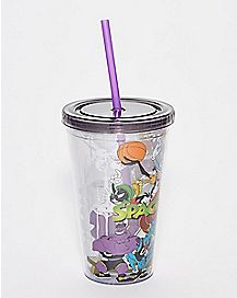 Space Jam Cup With Straw And Ice Cubes  - Looney Tunes