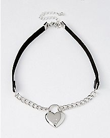 Chain Heart Choker Necklace