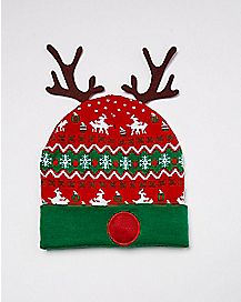 Light Up Antler Christmas Beanie Hat