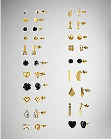 Black Goldplated Multi-Pack Stud Earrings - 20 Pair