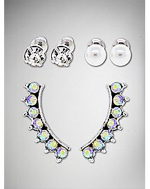 Multi-Pack Stud Earrings and Ear Cuffs - 3 Pair