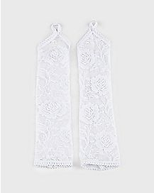 White One Finger Lace Gloves