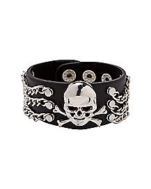 Skull Chain Leather Cuff Bracelet