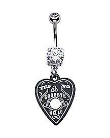 Black CZ Heart Ouija Dangle Belly Ring - 14 Gauge