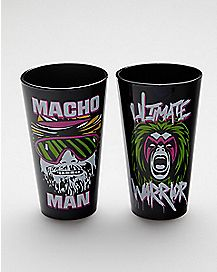 Macho Man and Ultimate Warrior Pint Glasses 16 oz. 2 Pack - WWE