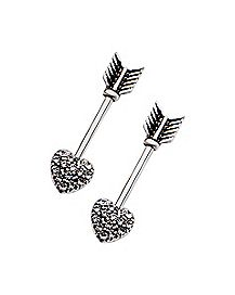 Heart Arrow Barbell Nipple Rings - 14 Gauge