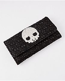Lace Skull Checkbook Wallet