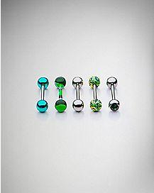 Green Multi-Pack Barbells 5 Pack - 14 Gauge