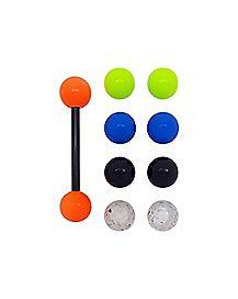 Multicolor Balls and Black Barbell - 14 Gauge