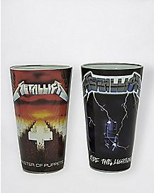 Master Of Puppets and Ride The Lightning Pint Glasses 2 Pack 16 oz. - The Master Collection
