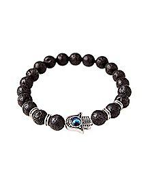 Lava Bead Hamsa Hand Bracelet