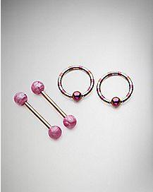 Nipple Captive Rings and Nipple Barbells 2 Pair - 14 Gauge