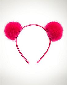 Pink Faux Pur Pom Ear Headband