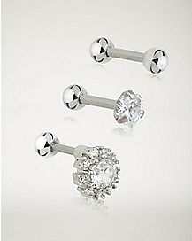 Multi-Pack CZ Cartilage Earrings 3 Pack - 18 Gauge