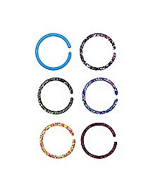 Splatter Nose Hoops 6 Pack - 20 Gauge