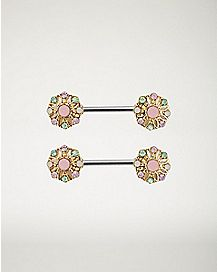 Decorative Gem Nipple Barbells 1 Pair - 14 Gauge