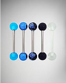 Blue Marble and Retainer Barbell 5 Pack - 14 Gauge