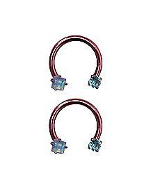 Multi-Gem End Horsehoe Captive Rings - 14 Gauge