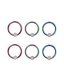 Rainbow Captive Ring 6 Pack - 16 Gauge
