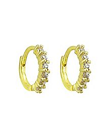 CZ Huggie Earrings - 18 Gauge