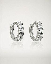 CZ Hoop Huggie Earrings - 18 Gauge