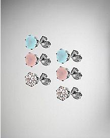 Blue and Pink Opalite Earrings - 3 Pair