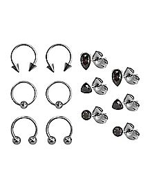Mystic Gem Earring and Captive Ring 6 Pair - 18 Gauge