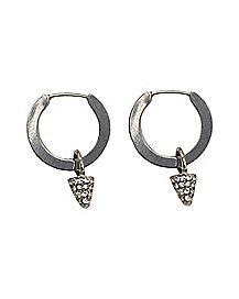 CZ Spike Dangle Hoop Earrings - 18 Gauge