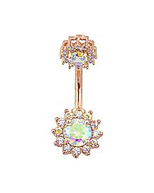 Rose Goldplated Flower CZ Belly Ring - 14 Gauge