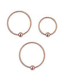 Multi-Pack Twisted Rose Goldplated Hoop Nose Rings 3 Pack - 20 Gauge