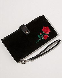 Velvet Embroidered Rose Wallet