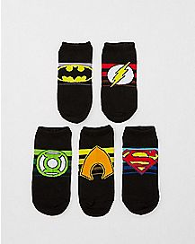 Justice League No Show Socks 5 Pack - DC Comics